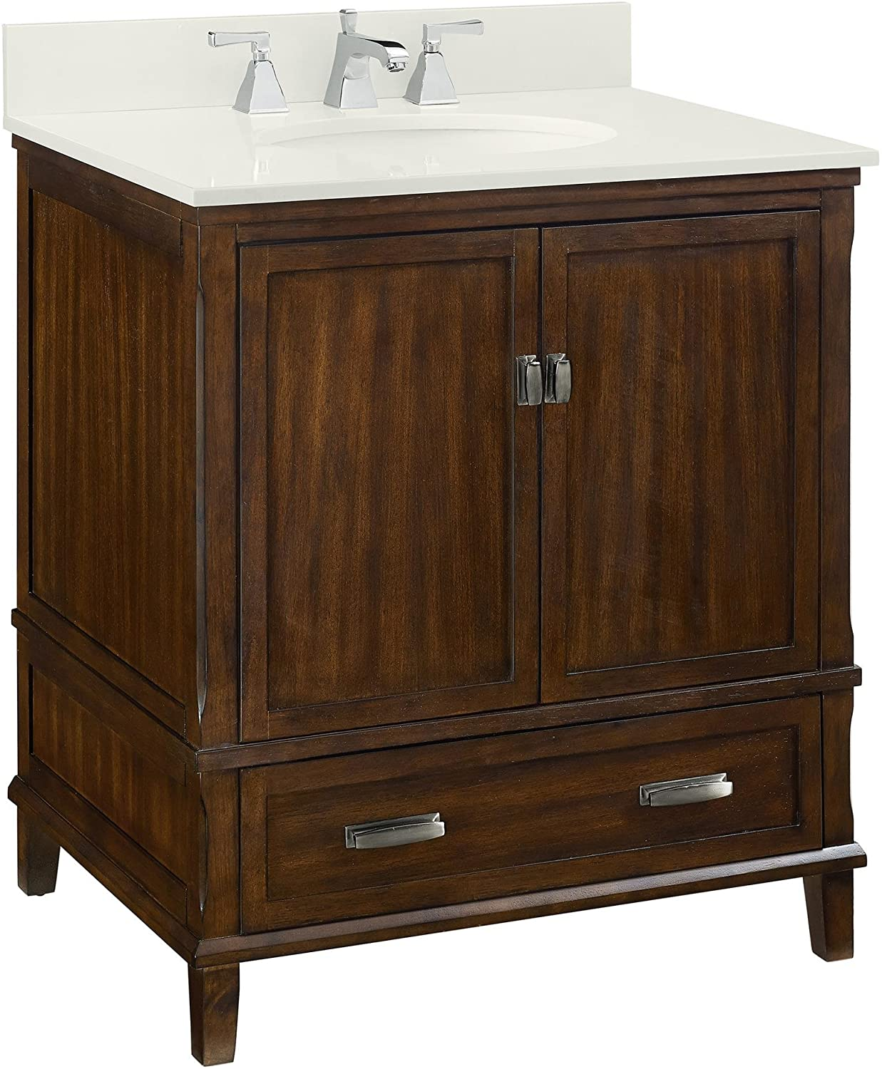 Amazon Com Dorel Living Otum 30 Bathroom Vanity Dark Walnut Furniture Decor
