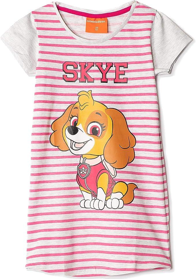 Camicia da notte a maniche corte in 100/% cotone con motivo a righe da 2 a 8 anni Skye Character Girls Original Paw Patrol Nickelodeon