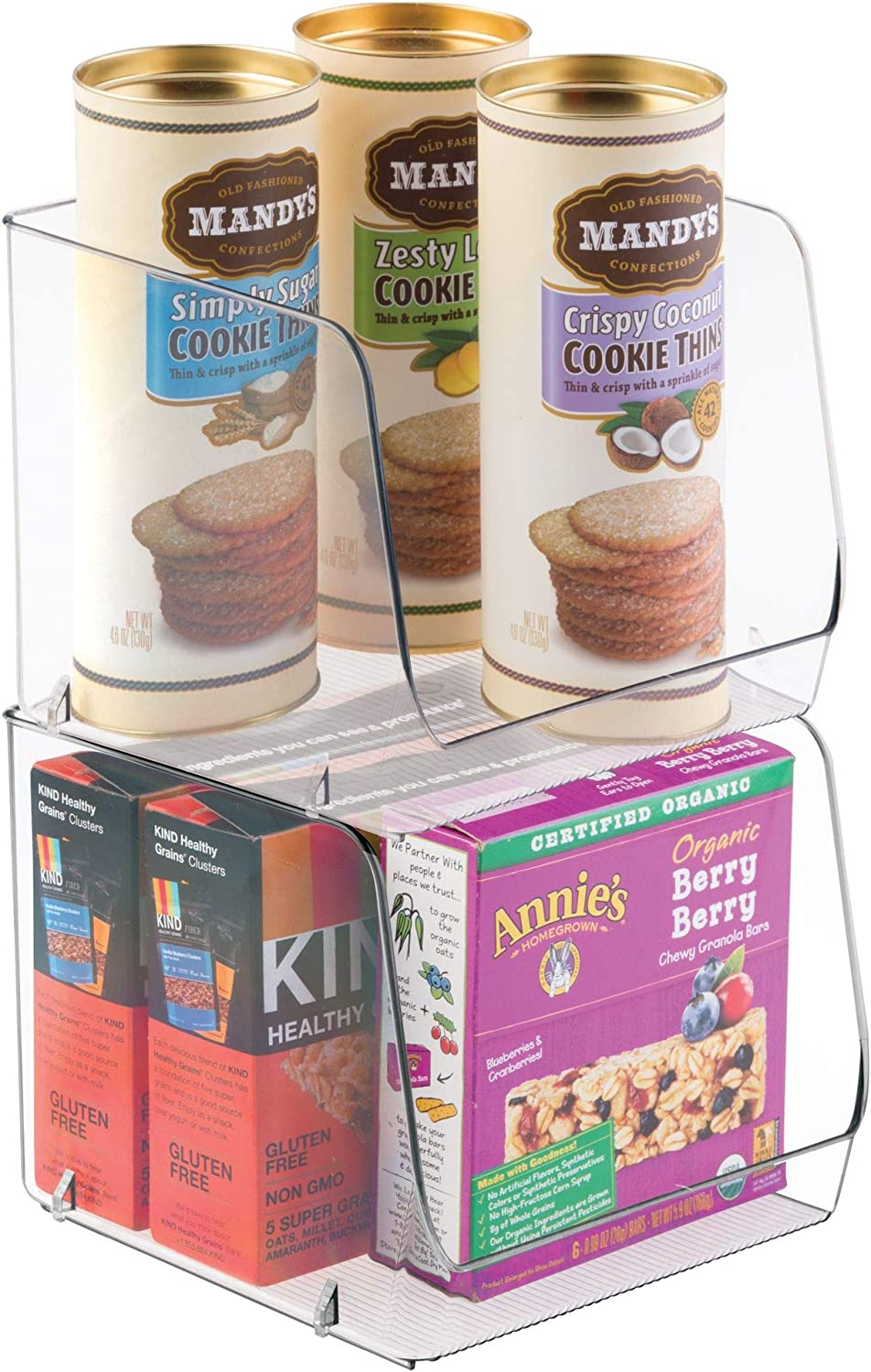 iDesign Linus Stacking Organizer Bins for Kitchen, Pantry, Office, Bathroom - Set of 2, Extra Large-Clear