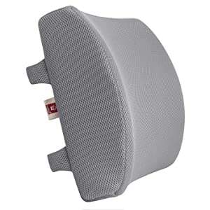 LoveHome Memory Foam Lumbar Support Back Cushion with 3D Mesh Cover Balanced Firmness for Lower Back Pain Relief - Ideal Back Pillow for Office Chair and Car Seat - Gray