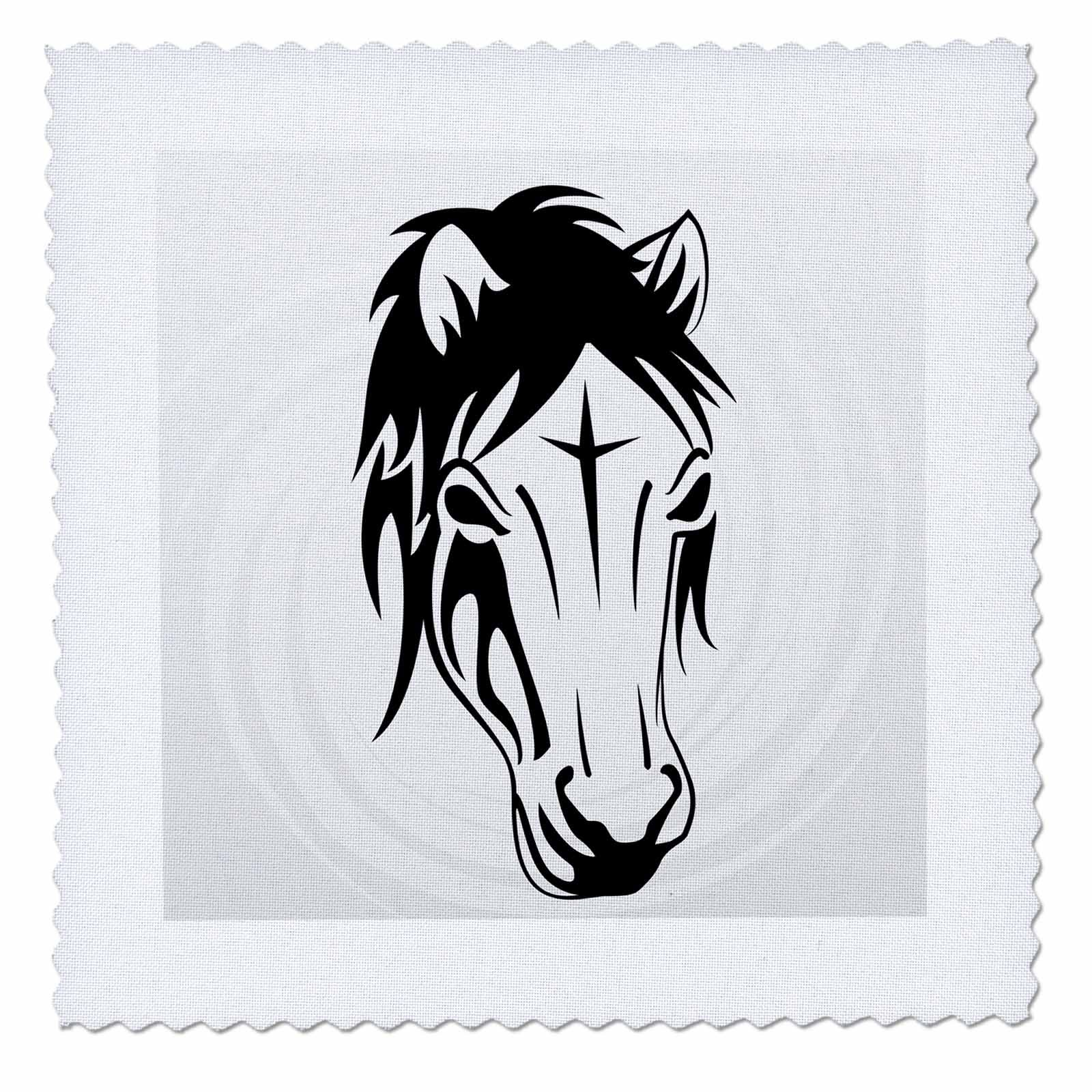 3dRose Sven Herkenrath Animal - Tribal Horse Horses Portrait Ride Riding Funny - 18x18 inch quilt square (qs_280313_7)