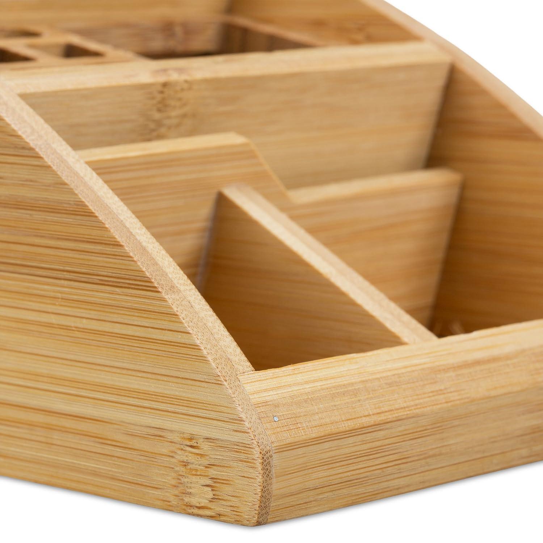 Bamb/ù HxLxP: 9 x 13 x 16 cm Marrone Chiaro Relaxdays 10022187 Portaoggetti da Scrivania per Ufficio Portapenne