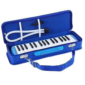 ammoon Melodica 32 Teclas con Paquete Duro Pianica Teclado de Estilo Piano Harmónica Órgano Bucal con Boquilla Paño de Limpieza Estuche para ...