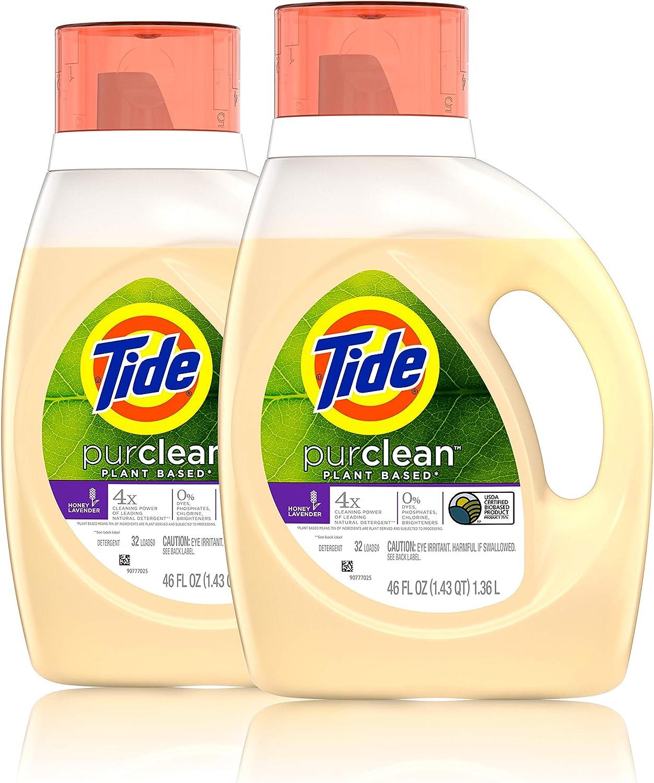 Tide Purclean Liquid Laundry Detergent, Honey Lavender, Pack of 2, 46 fl Ounce Each, 2 Count