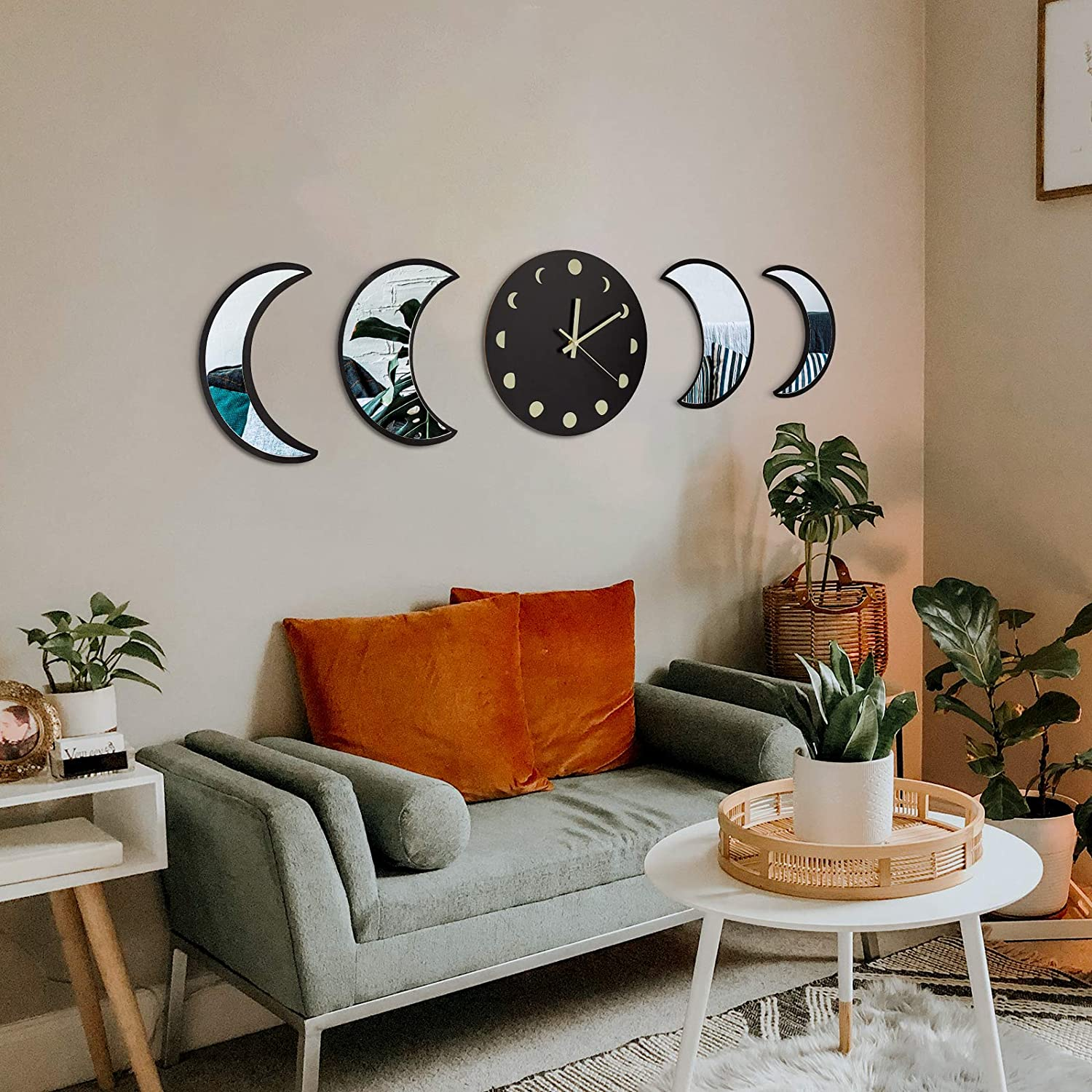 MAXROCK Wall Decor Mirror and Clock Set, Moon Phase Mirror with Luminous Wall Clock, Non-Ticking Super Quiet, Bohemian Moon Wall Decor for Living Room Bedroom Farmhouse Rustic