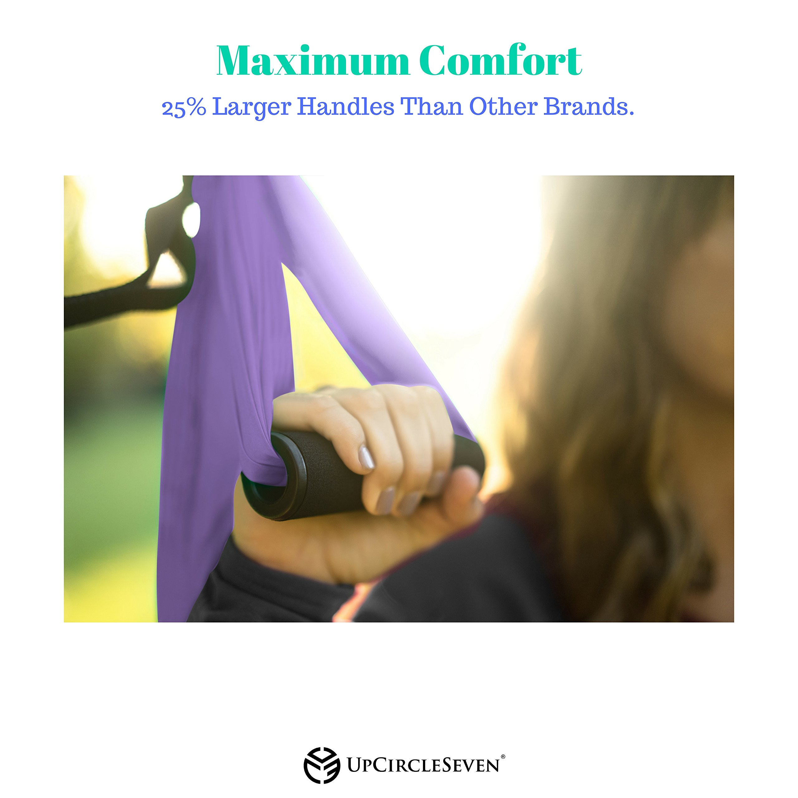 UpCircleSeven Aerial Yoga Swing - Ultra Strong Antigravity Yoga Hammock/Sling for Air Yoga Inversion Exercises - 2 Extensions Straps Included (Purple) by UpCircleSeven (Image #6)