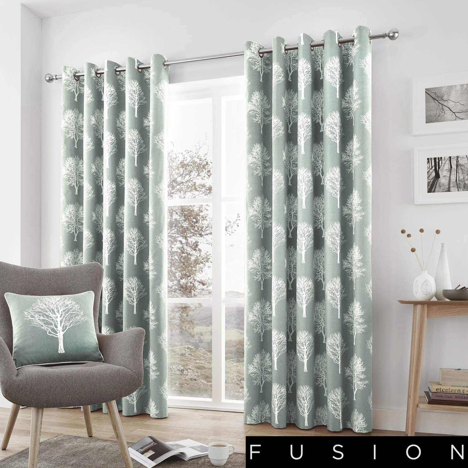 Fusion Woodland Trees 100 Cotton Pair Of Eyelet Curtains 66
