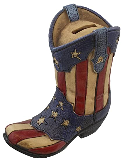 Image Unavailable. Image not available for. Color  Rustic Western USA Flag  Cowboy Boot Piggy Coin Bank - Patriotic Red White   Blue American 257509f3be8