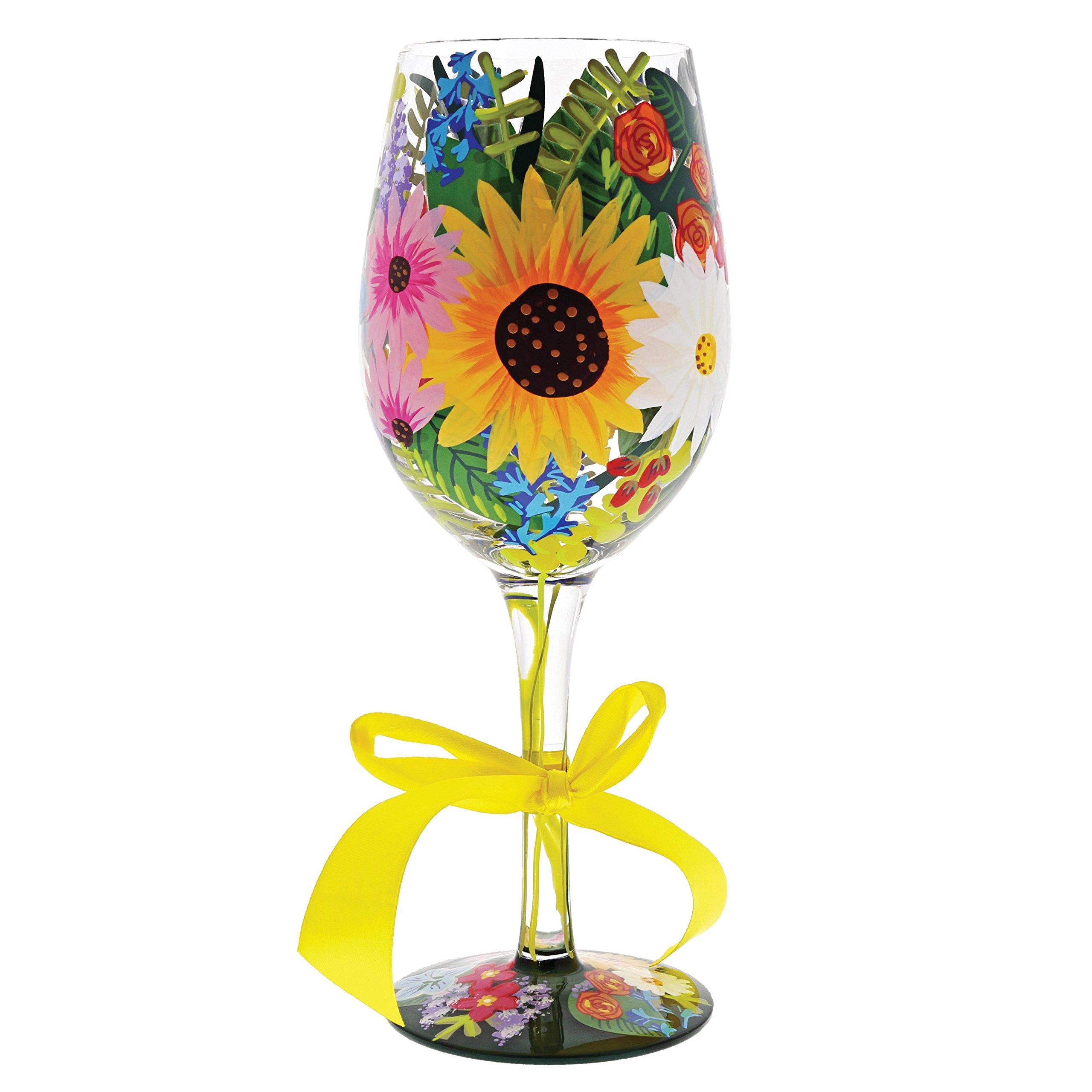 "Designs by Lolita ""Wildflowers"" Hand-painted Artisan Wine Glass, 15 oz."