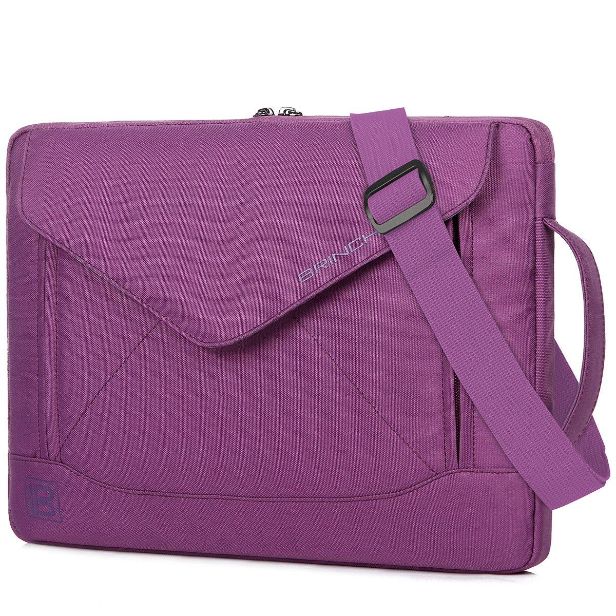 BRINCH Durable Envelope Nylon 15-15.6 Inch Laptop/Notebook/Macbook/Ultrabook/Tablet Computer Bag Shoulder Carrying Envelope Case Pouch Sleeve With Shoulder Strap Pockets and Card Slots (Purple)