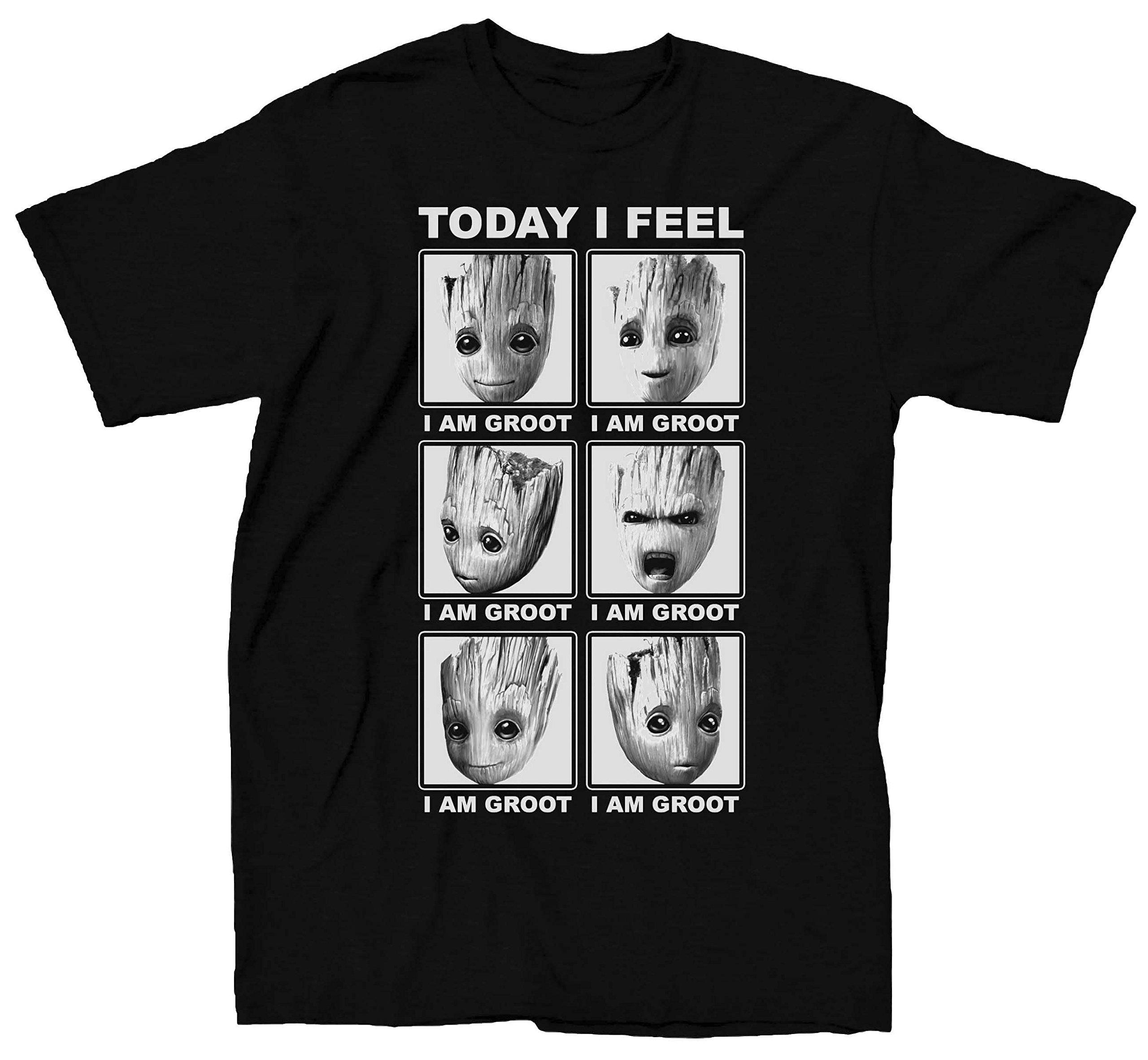 Marvel Guardians Of The Galaxy 2 Face Of Groot I Feel T-shirt (Medium, Heather Black)