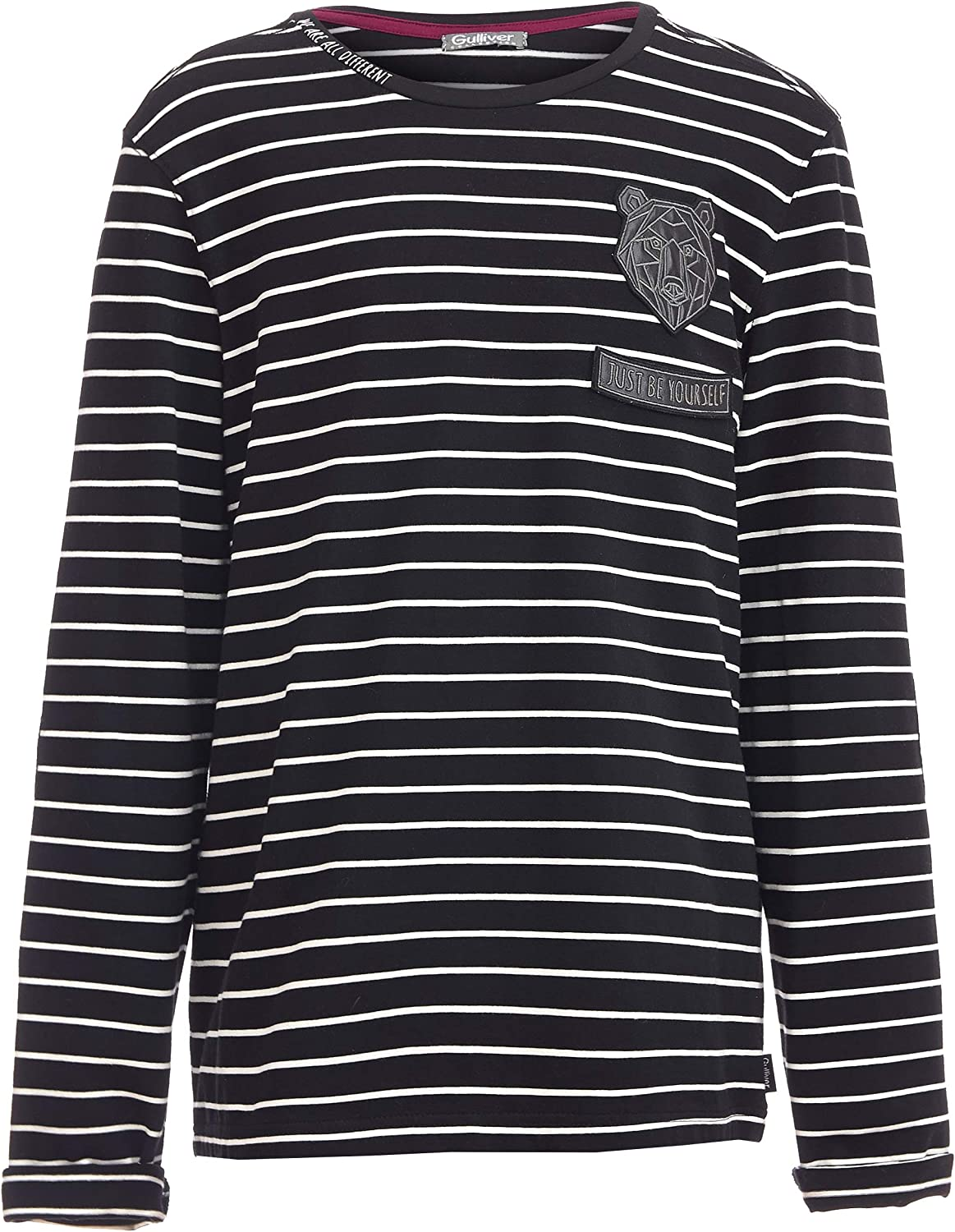 Casual Marine Regular Fit Colour Black for 11-14 Years Cotton Round Neck Elbow Patches Long Sleeve GULLIVER Teen Boys Long Sleeve T-Shirt Striped Animal Patch