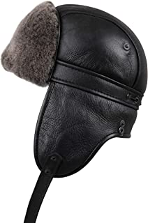 5e94879f96e Zavelio Unisex Shearling Sheepskin Aviator Russian Ushanka with Snap Hat
