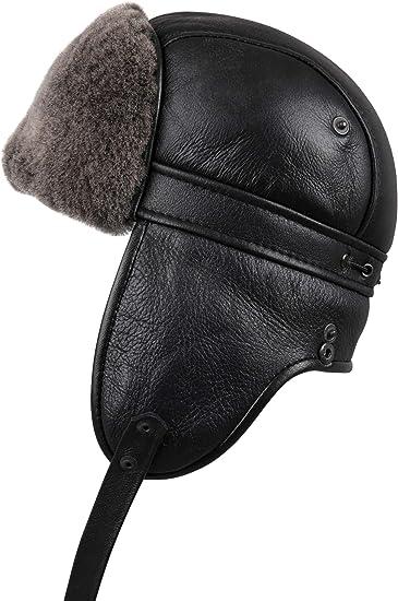 Mens Aviator Hat Black Ear Flaps Ushanka Sheepskin Natural Leather Warm Durable