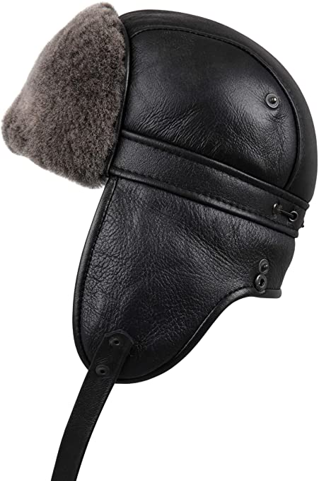 f6c1e656fbd Zavelio Unisex Shearling Sheepskin Aviator Russian Ushanka with Snap Hat  Small Black