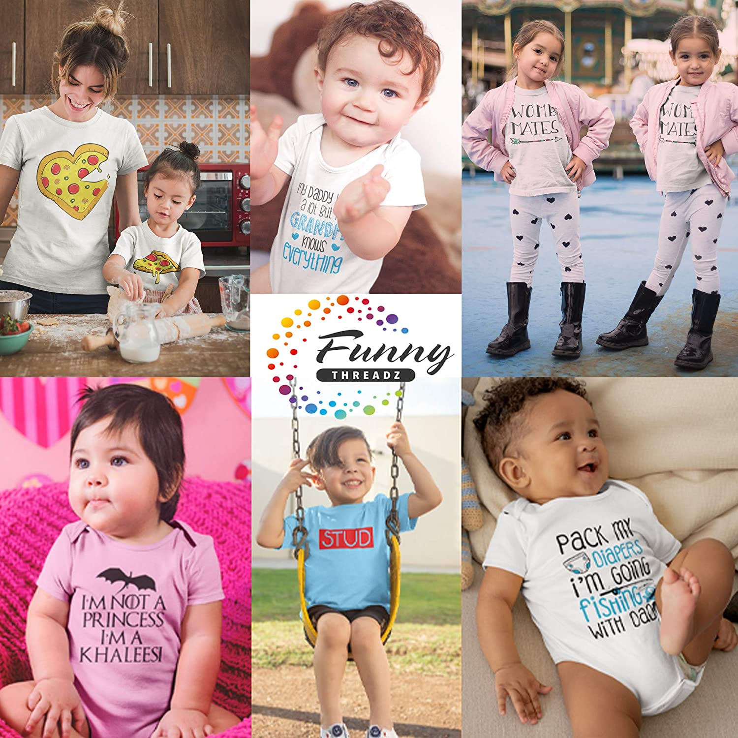 """Newborn Baby Twin Onesie Set of 2 /""""Womb Mates/"""" Boys or Girls Kids Matching Shirt Set Twin Outfit Set of 2 Rompers"""