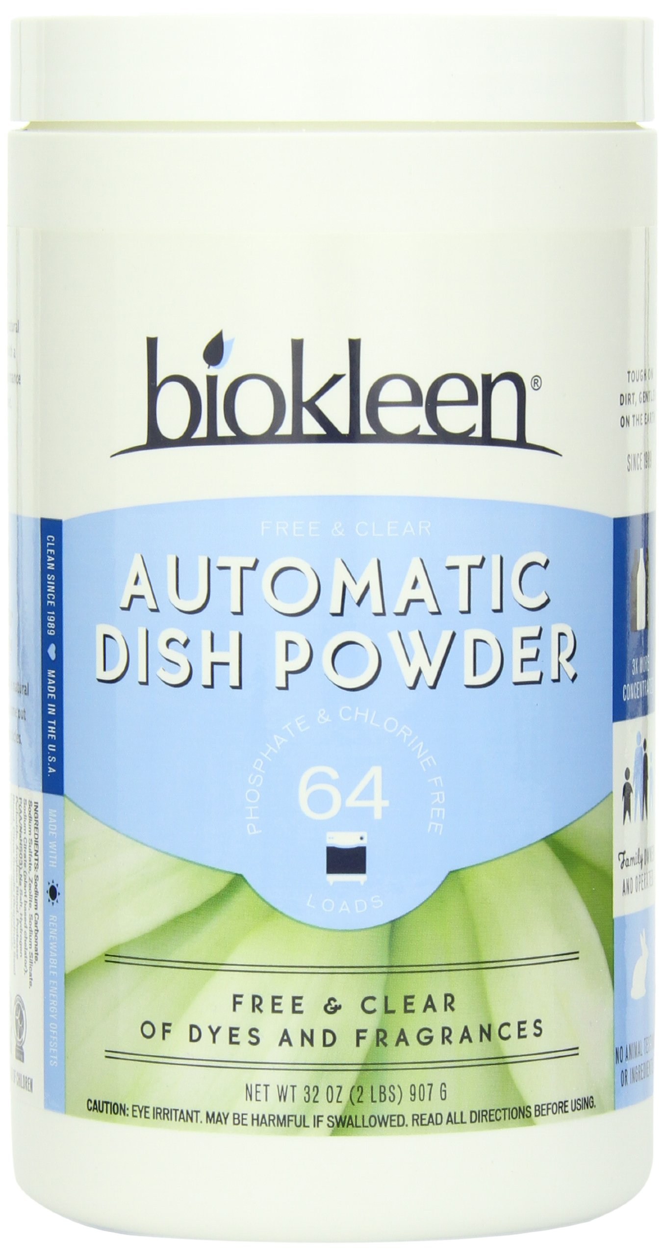 Biokleen Automatic Dish Powder, Free & Clear, 2 Pounds (Pack of 12)