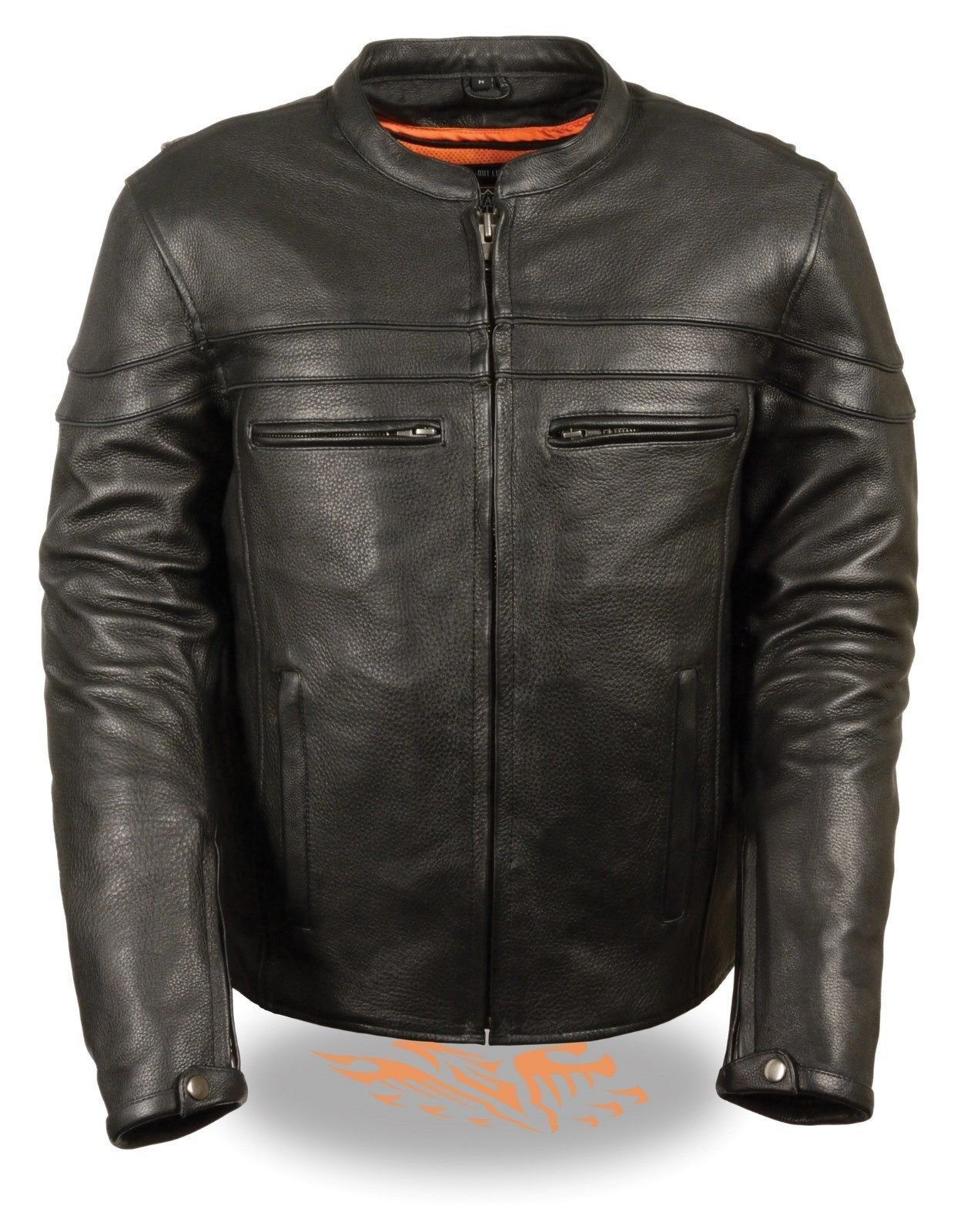 Milwaukee MEN'S MOTORCYCLE REFLECTIVE SCOOTER NAKED COW LEATHER JACKET W/GUN POCKET VENTS (2XL Regular)