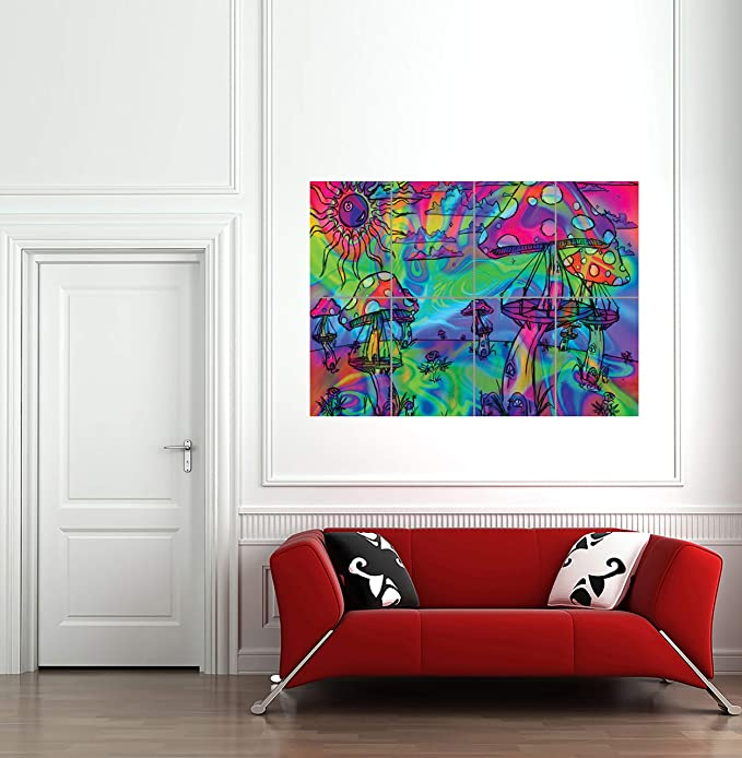 Psychedelic Trippy Mushrooms Hallucinogenic Giant Poster Print Wall Art
