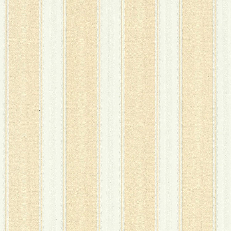 Cr/éation Concerto 3 10,05 x 0,53 m Rollo Papel pintado gofrado rayas de rayas beige blanco 765826 76582-6 A.S = 5,33 m/² beige//blanco