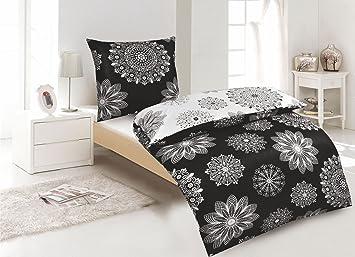 Bettwasche 155x220 Schwarz ~ Tlg wende bettwäsche baumwolle renforce schwarz weiß mit