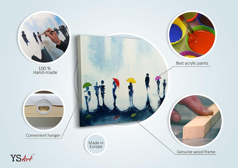 Unikat 120x80cm Handgemalt Moderne Kunst| Leinwand Wand Bild YS-Art Acryl Gem/älde Traum Stadt Rot |3-teilig