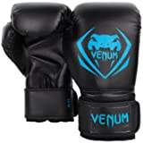 Venum Contender Boxing Gloves - Black/Cyan - 14-Ounce