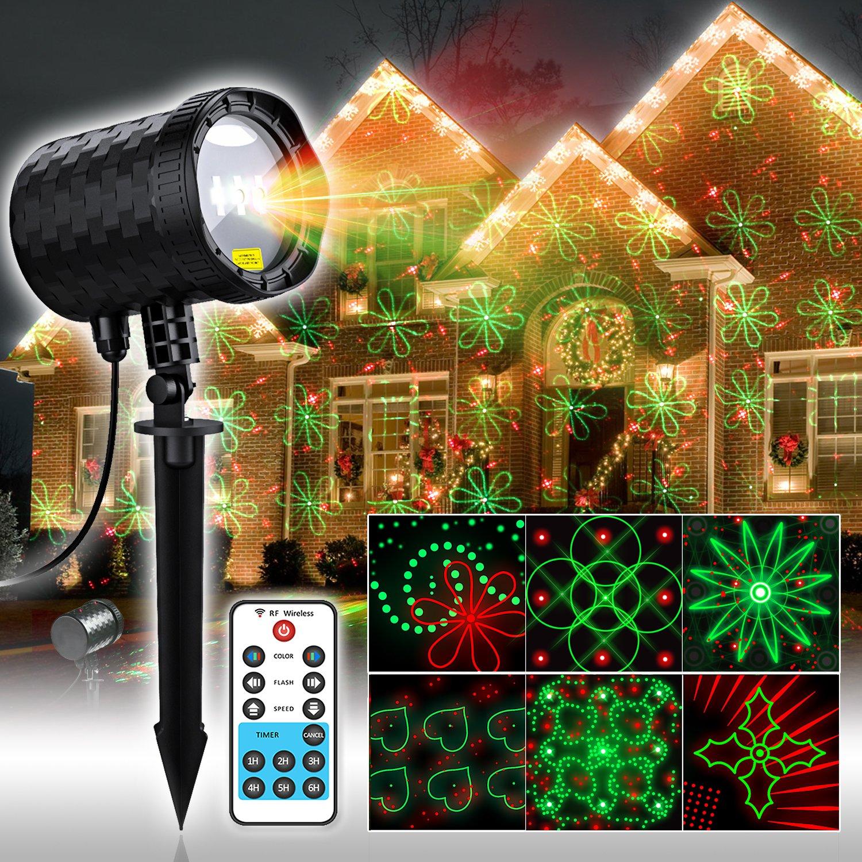 COOWOO Weihnachtsbeleuchtung für Innen und Außen rot grün Sterne Weihnachts Projektor mit 20 Mustern und Fernbedienung