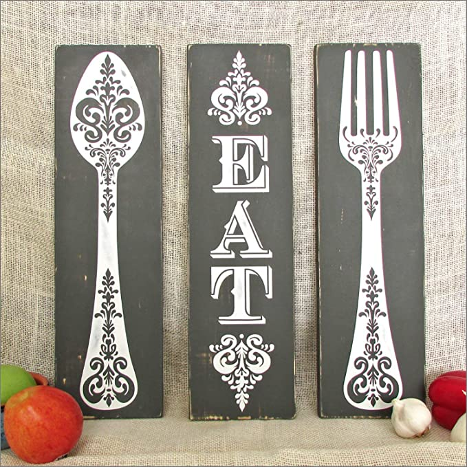 Fork,Spoon EAT Wall Letters EAT Sign Shabby Chic Rustic Kitchen Decor Kitchen Wall Art Rustic Home Decor Kitchen Wall Decor