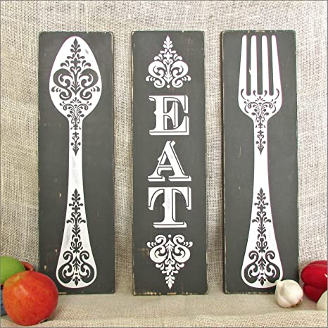 Amazon Com Celycasy Spoon Fork Eat Rustic Kitchen Wall