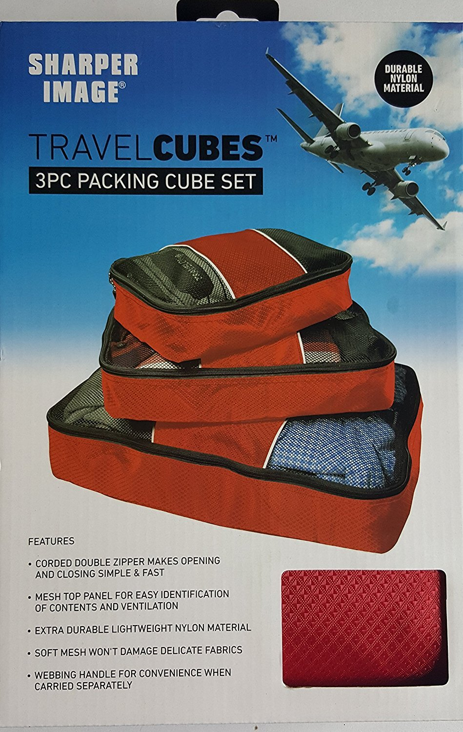 3 Pc Packing Cube Set Red by Sharper Image Sharper Image Travel Cubes