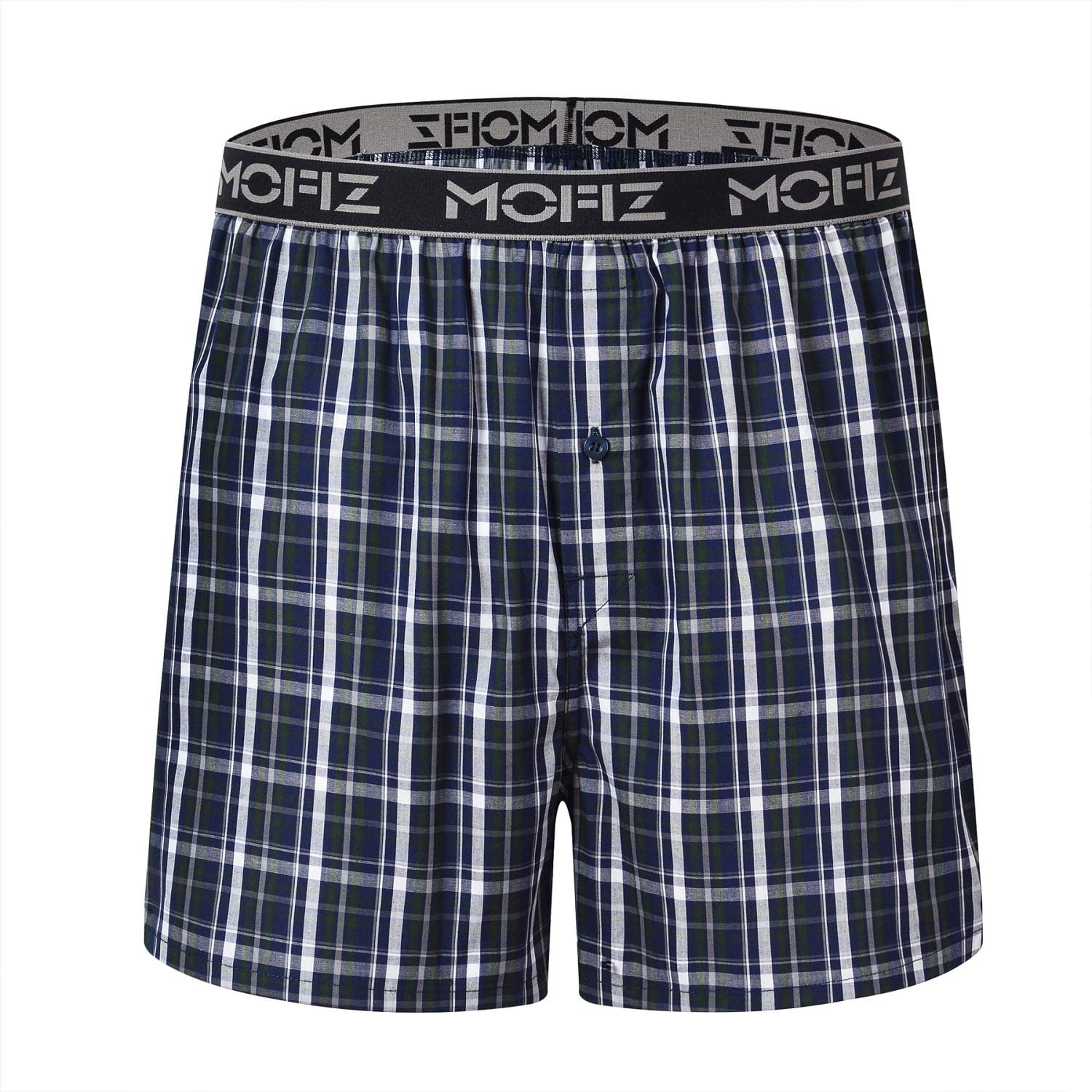 JINSHI Mens Boxer Shorts Underwear Boxer Cotton Plaid Button Fly Sleep Pajama Shorts 3-Pack