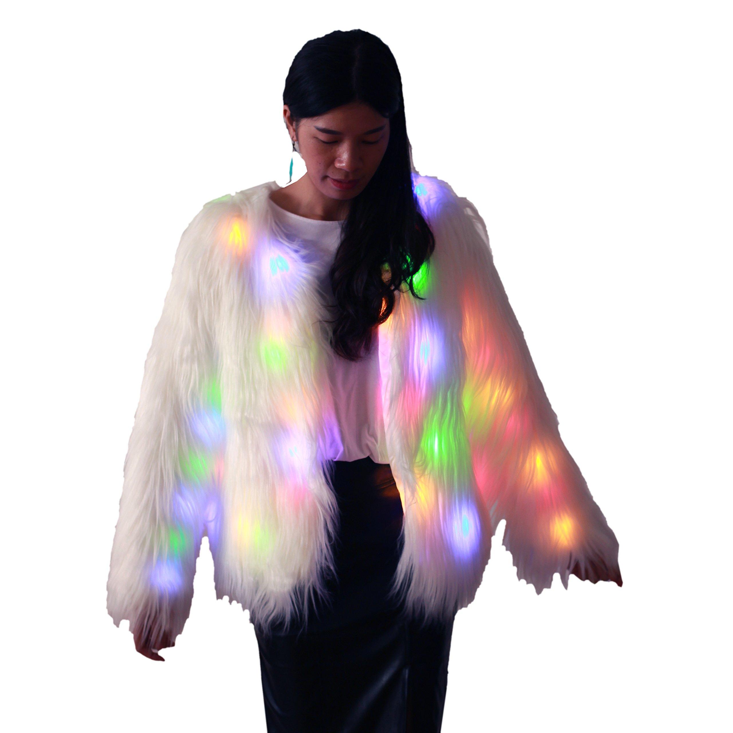 Ohlees Led Light up Shining Christmas Party Women Winter Long Fur Vest Coat Decorative Perform Dance (M, Coat-1)