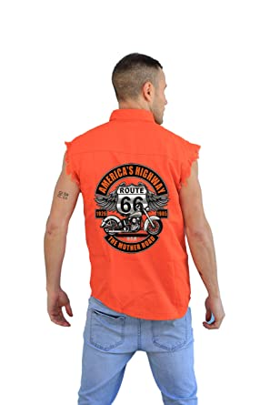 cd7873e7f788d BPMD11-Men s Mechanic Cut-Off with Reflective Stripe-Americas Highway Route  66 (