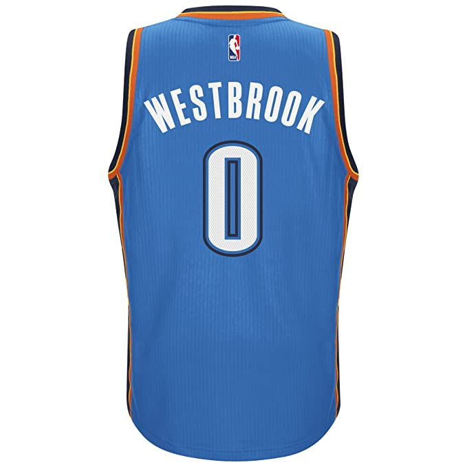 new products 609e7 5a99b adidas Men's Oklahoma City Thunder NBA Russell Westbrook Swingman Jersey  Blue