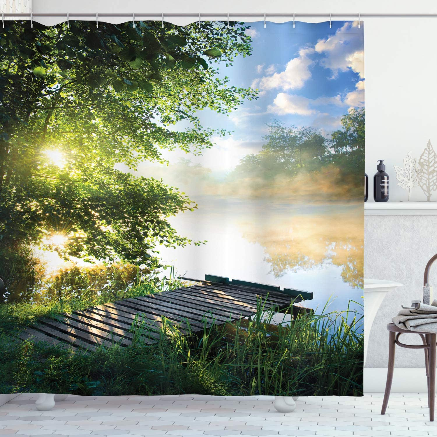 Ambesonne Landscape Shower Curtain, Fishing Pier by River in The Morning with Clouds and Trees Nature Image, Cloth Fabric Bathroom Decor Set with Hooks, 70
