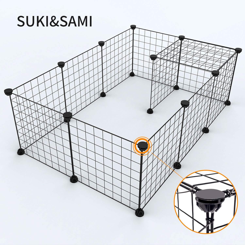 SUKI & SAMI petit parc pour animaux de compagnie, cage d'animaux portable intérieur d'intérieur, clôture de yard de stylo d'exercice pour le cobaye, lapins, fil noir 12 panneaux SUKI&SAMI SS001P