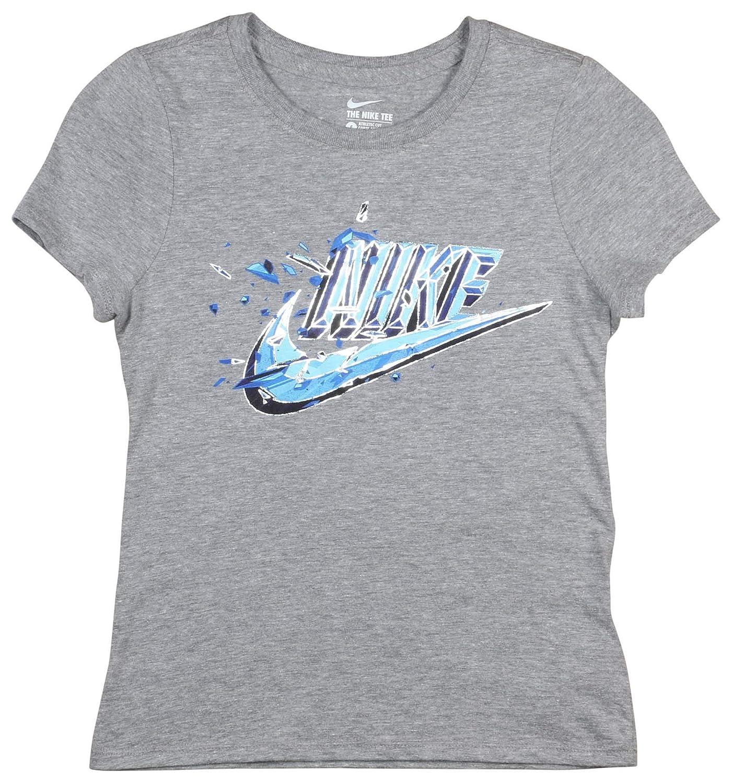Nike Girls Squared Swoosh Graphic Tee-Heather Grey
