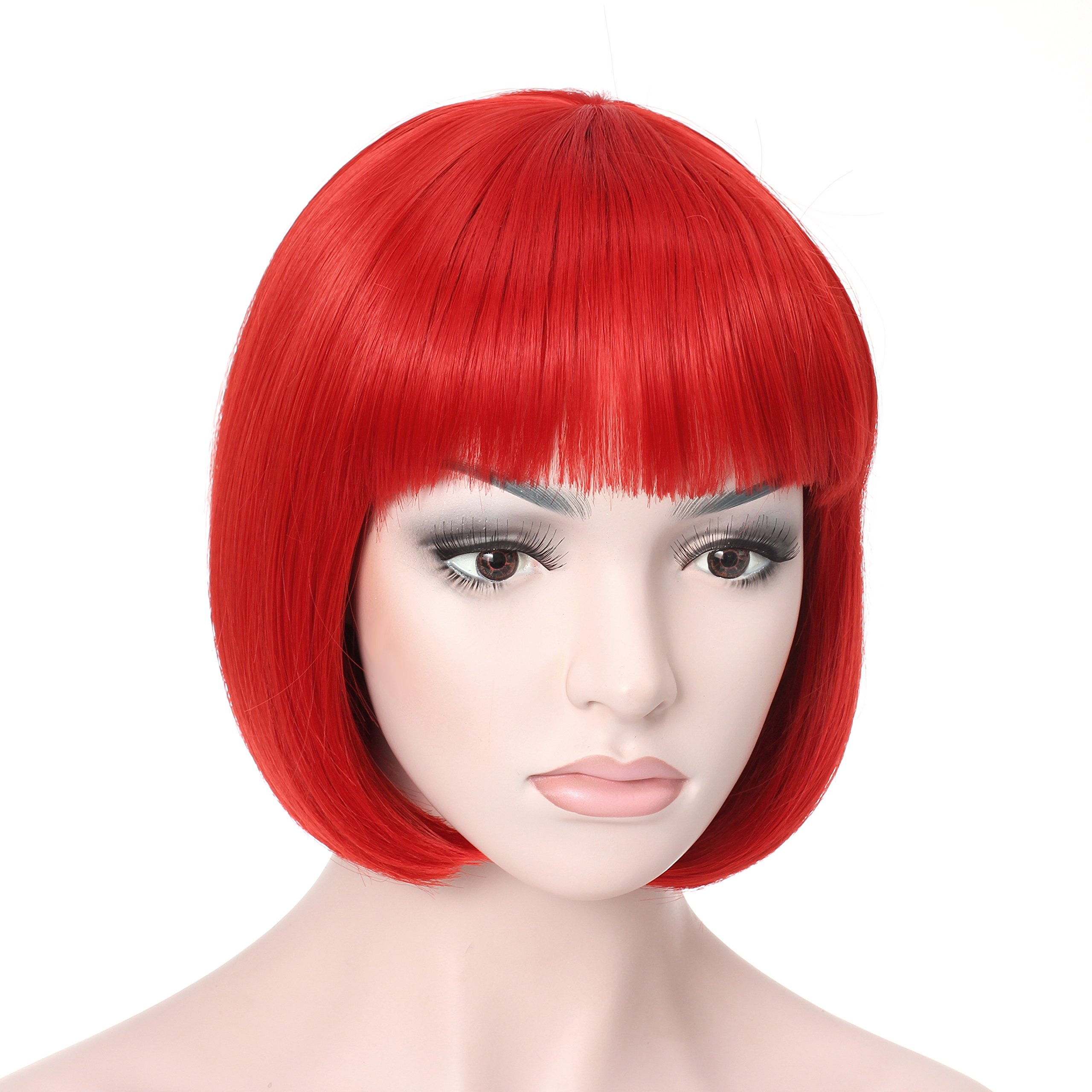 OneDor 10'' Short Straight Hair Flapper Cosplay Costume Bob Wig (Red)