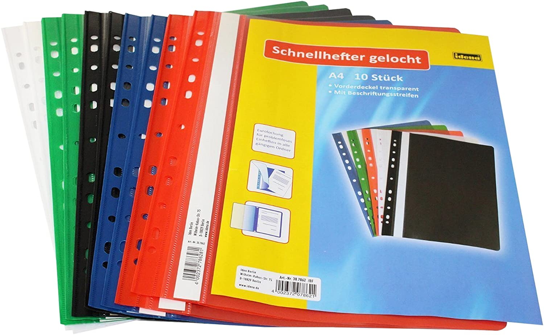 Farbe Eurolochung Schnellhefter DIN A4 weiß aus PVC gelocht