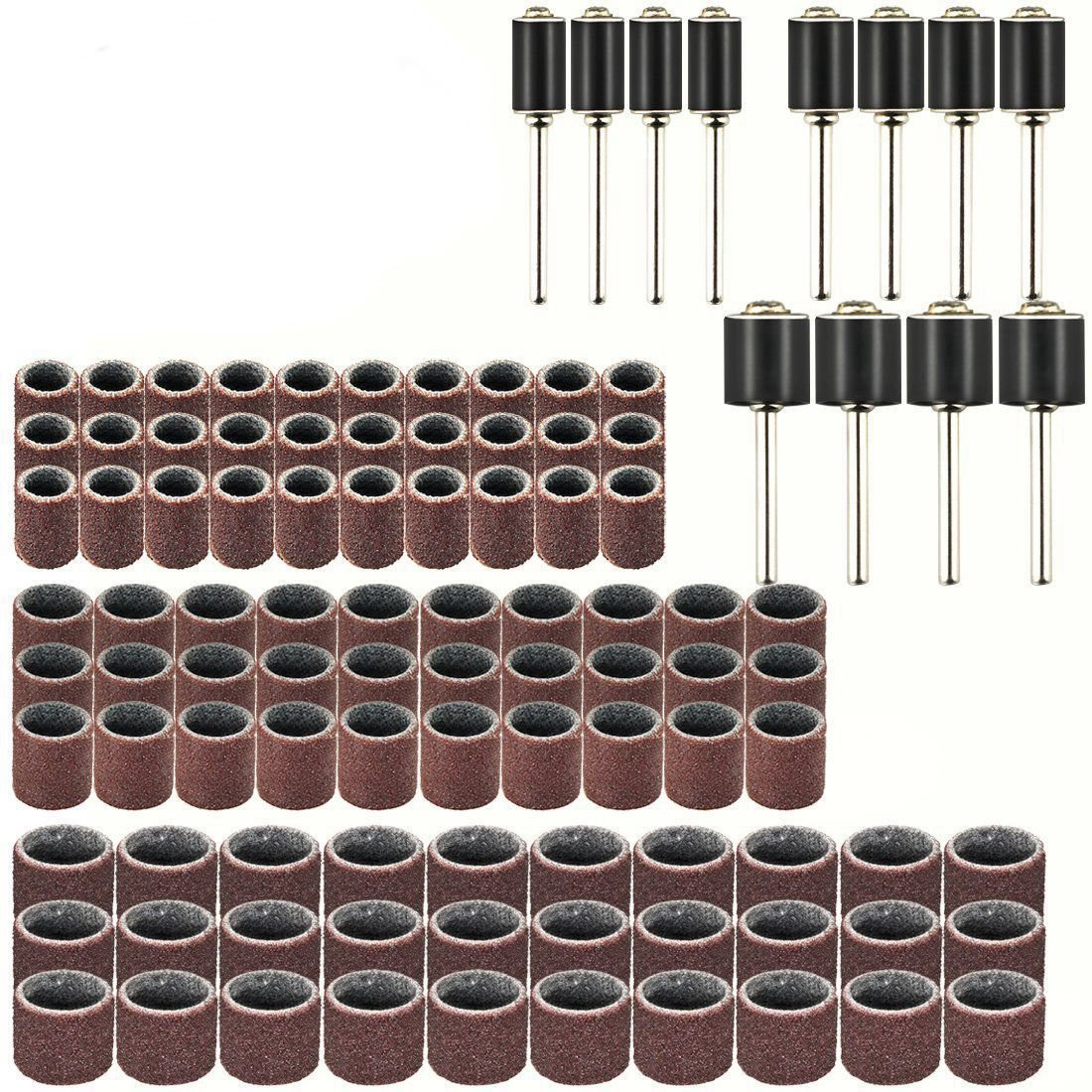SODIAL Drum Sander Set Including 90Pcs Sanding Band Sleeves, 12Pcs Drum Mandrels for Rotary Drll Tool (102pack)