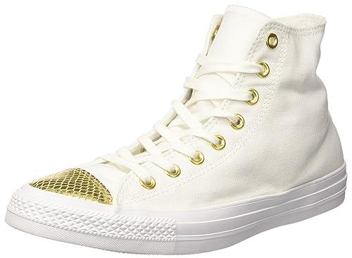 Converse Ctas Hi Sneaker a Collo Alto Donna Bianco White/Gold/White 37.5 EU
