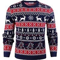 iClosam SuéTer De Hombre Y Mujer Unisex Navidad Cuello Redondo Esencial Navideño Pullover De Punto Jersey Sudaderas…