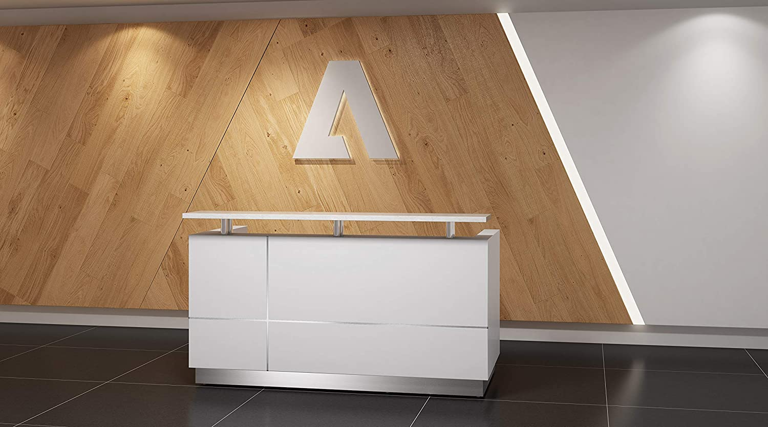 """Modern Gloss White Reception Desk (71"""") with Quartz Stone Counter TOP : Office Products"""