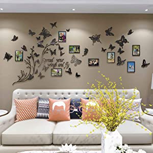DecorSmart Large Butterfly Family Tree Wall Decor Picture Frame Collage Removable 3D DIY Acrylic Wall Stickers for Living Room with Plants and Quote Spread Your Wings and Fly (Black)