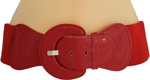 New Women Fashion Belt Hip Waist Dark Navy Blue Elastic Buckle Plus Size M L XL
