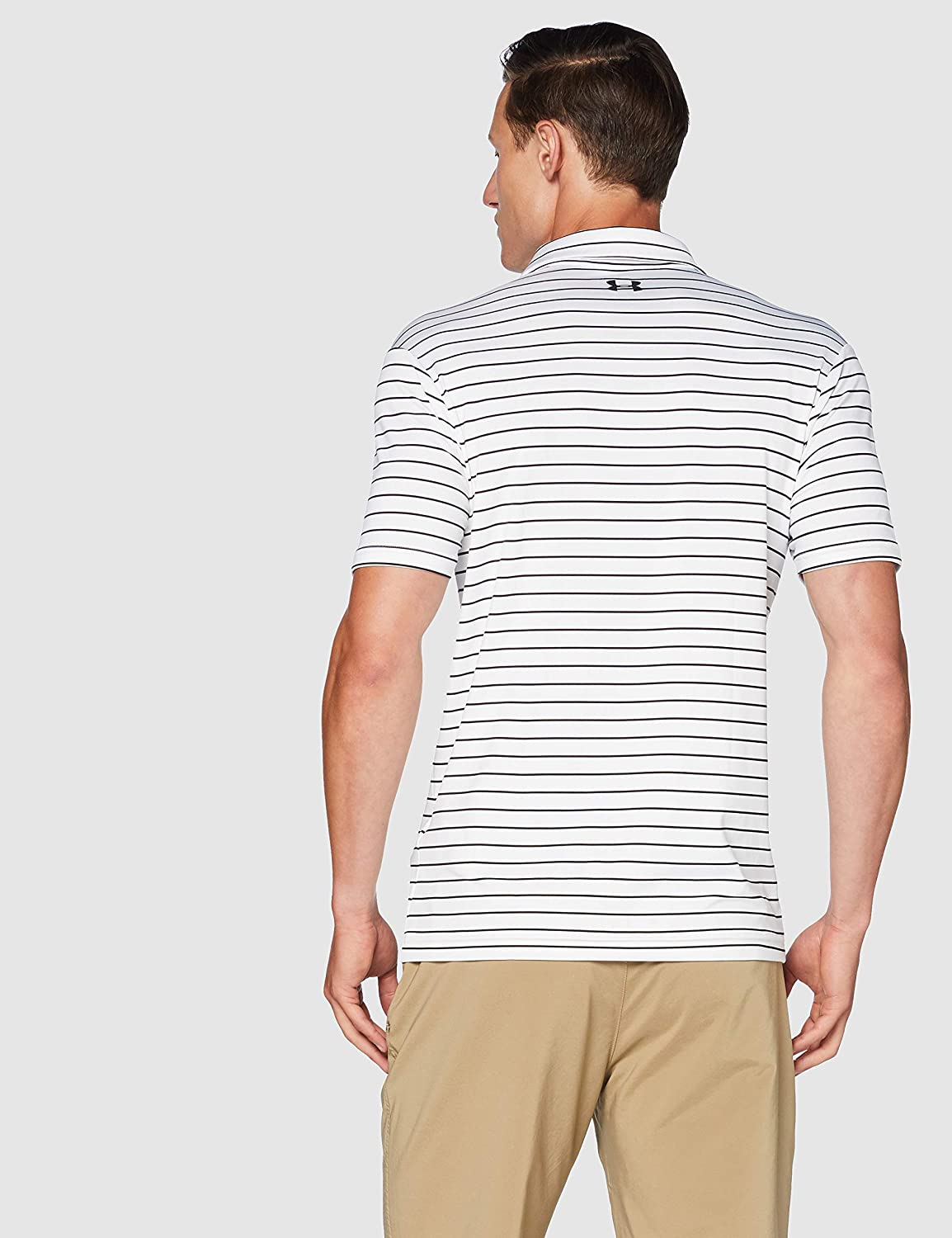 White//Black//Black Short Sleeve Polo Shirt with Sun Protection Men 100 Under Armour Playoff 2.0 white Polo T Shirt with Short Sleeves SM