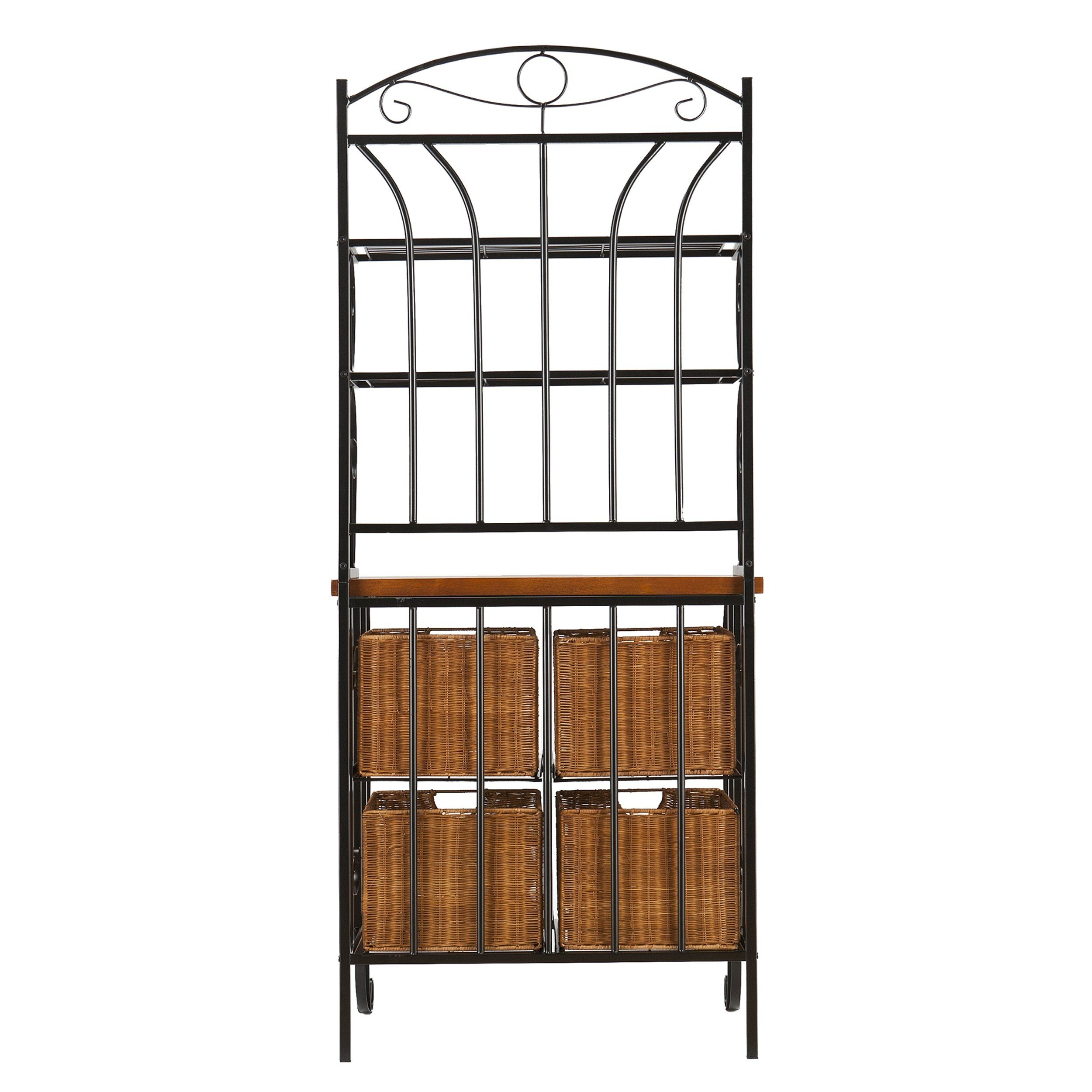 Harper Blvd Iron and Wicker Bakers Rack by Harper Blvd