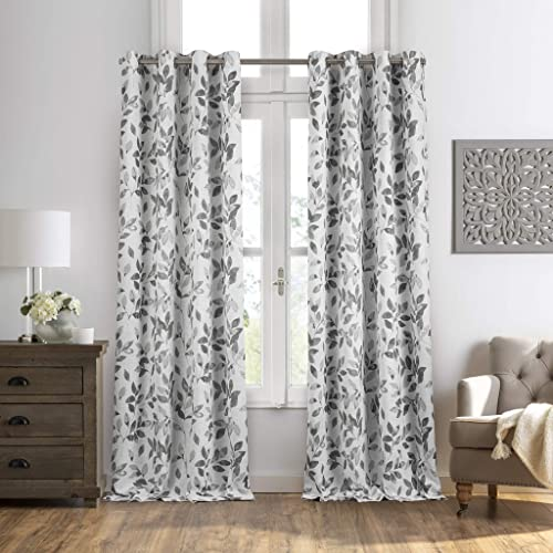 Elrene Home Fashions Avalon Botanical Floral Leaf Print Blackout Window Curtain Panel