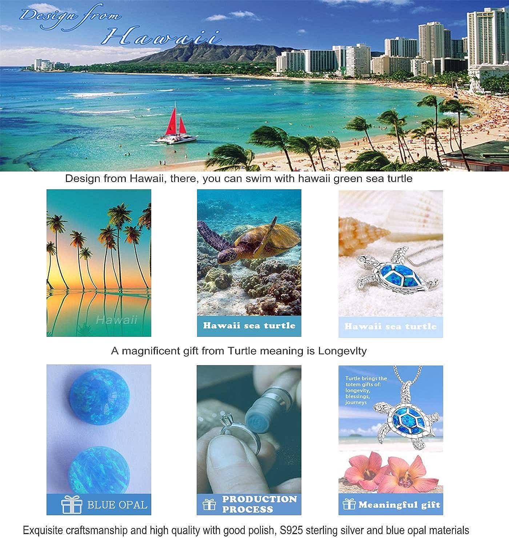 Opal Birthstone Jewellery Set,Blue Turtle Earrings Pendant Longevity Good Luck 925 Sterling Silver Birthday Gifts